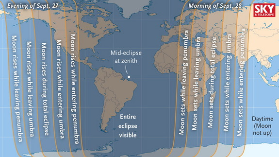 Worldwide visibility chart for the total lunar eclipse of Sep. 28 2015